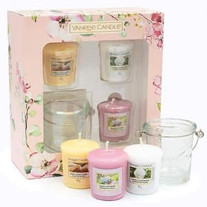 Giftset Yankee Candle Garden Hideaway 3 Votive and Candle Holder